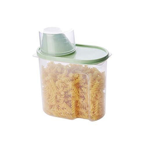 HMYLI Hermético contenedores de Almacenamiento de Alimentos, Cereales 1.9L-2.5L de plástico de Cocina Dispensador Caja de Almacenamiento Arroz Frijoles Transparente stoarge Jar Box,Verde,1.9L