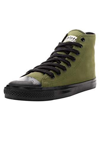 Ethletic Unisex Sneaker Hi Fair Trainer Black Cap Camping Green | Jet Black 43 Fair | Vegan | Nachhaltig
