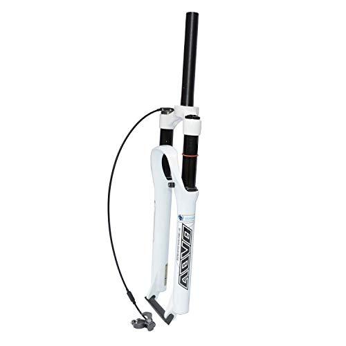 RSTO Bici Forcella Ammortizzata MTB 26/27.5/29 Pollici Lega di Magnesio 1-1/8' Ammortizzatore Anteriore 9mm QR Forcella Ad Aria (Color : White-Remote Lockout, Size : 27.5 Inches)