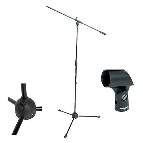 Proel RSM180 - Asta professionale a giraffa per Microfono con supporto microfonico Proel APM10, Nero - Bundle