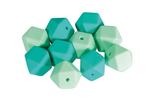 Rayher 14867408 Silikonperlen Hexagon, Mint-Töne, 14 mm ø, Beutel 10 Stück, für versch. Baby-Accessoires wie Schnullerketten, Kinderwagenketten, Greifringe etc.