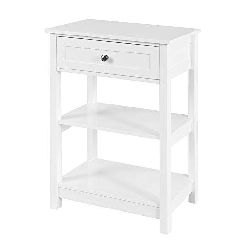 SoBuy FBT46-W, tavolino da Salotto,tavolino da Divano,con cassetto,Bianco, IT