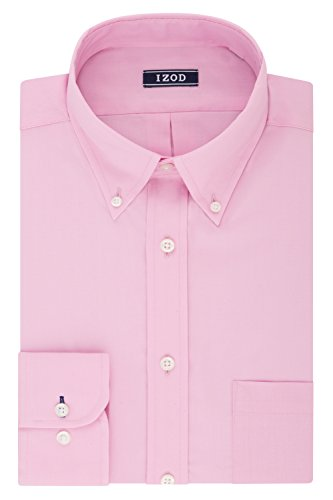 IZOD Men's Dress Shirt Regular Fit Stretch Solid Button Down Collar, Pink, 17'-17.5' Neck 34'-35' Sleeve (X-Large)