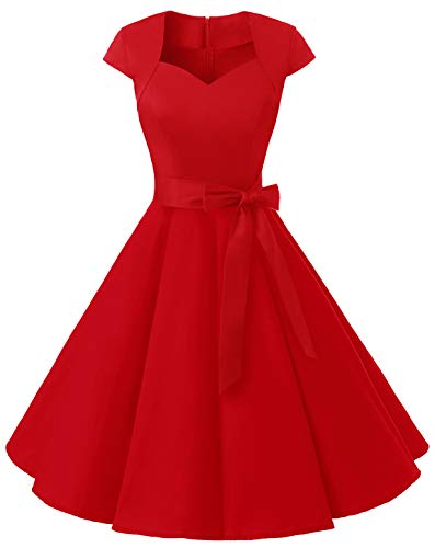 MuaDress Vintage Abito da Cocktail Party Rockabilly Anni '50 retrò Vestito Donna Estivo Swing con Scollo a Cuore 1960Red XS