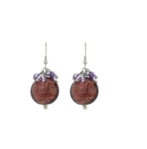 redondas pequeñas Pendientes con perlas de color lila–Mode para mujer–Joyas