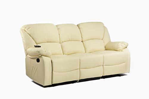 ECODE Sofa Canapé Tres Plazas Reclinable con Masaje por Ondulación Vibrante, Calor Lumbar, Polipiel ECO-8590/3 Beige