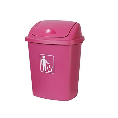 Hong Yi Fei-Shop papeleras Bote de Basura plástico 65L El Uso al Aire Libre de la Capacidad Grande cubrió el Bote de Basura del Aula del hogar de la Cocina (Color : Pink, Size : 40L)