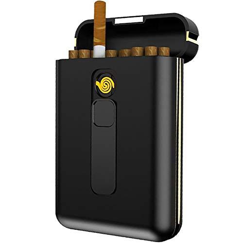 VIY 2-In-1Zigarettenetui(Schwarz), PC Plastic Zigarettenbox Mit Feuerzeug, Elektronisches Integriertem Flammenlose Feuerzeug, Aufladbar Zigarettenschachtel