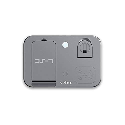 Veho Estación de carga múltiple inalámbrica DS-7 | Carga inalámbrica Qi, carga 3 dispositivos | Salida 5W/7.5W/10W | Compatible con teléfonos inteligentes, Apple Watch, Airpods y más