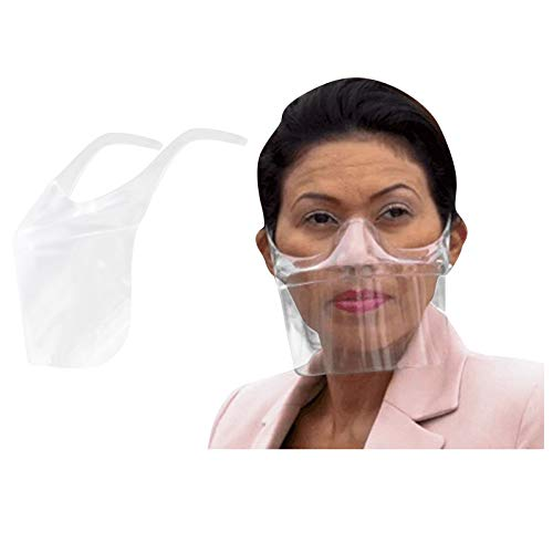 【Shipping from US!!!】 1/2/3PCS Durable Transparent Face_Mask,Clear Face_Covering Visor Protection Combine Plastic Reusable Visible Expression for Adults