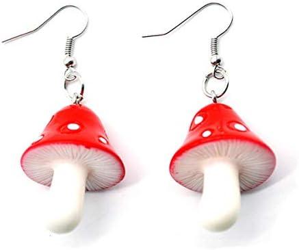 Beiswe Cute Mushroom Pendant Hook Earrings Resin Colorful Earrings Shroom Earrings Dangle Women product image