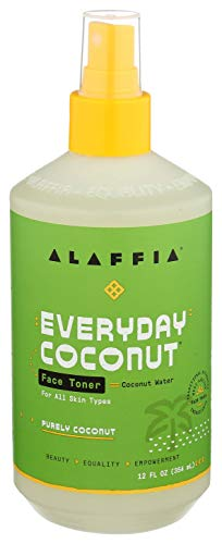 Alaffia Everyday Coconut Face Toner. Helps Hydrate and Balance Skin for All Skin Types. Made with Coconut Water, Neem, and Papaya. Cruelty Free, No Parabens, Vegan. (Purely Coconut) 12 Oz