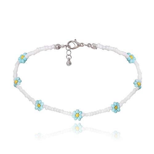Shangwang - Collar corto perlado hecho a mano colorido, acrílico, flor de margarita, transparente 31
