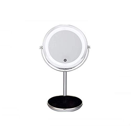 XYSQWZ Lighted Makeup Mirror5x Round Magnifying Mirror With Illuminated Mirror Rotation For Cosmetic Facial Skin Care Shaving And Traveling