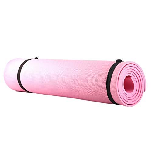 Esterilla de yoga 173 x 61 x 0,4 cm, antideslizante, para principiantes, fitness, gimnasia, pérdida de peso, alfombrilla de ejercicio para yoga, color rosa