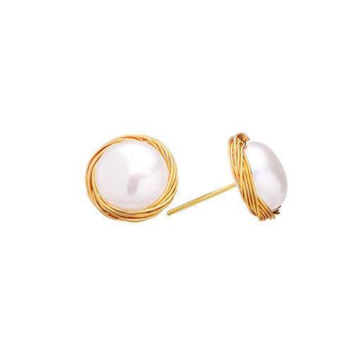HAZITTER Pendientes 14K Oro Mujer, Aretes Hipoalergénicos de Perlas Cultivadas de Agua Dulce y Estilo Barroco