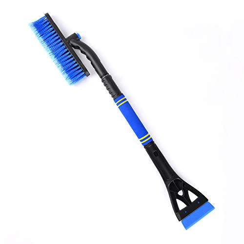 helloleiboo Car Snow Brush and Ice Scrapers 2 in 1, Extendable Snow Remover for Car Auto SUV Truck Windshield