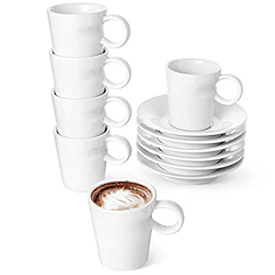 LE TAUCI 5oz Espresso Cups with Saucers, Set of...