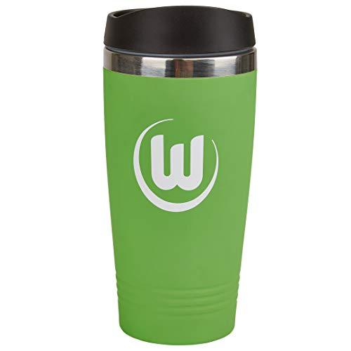 VfL Wolfsburg Thermobecher mit Wappen 0,45 l Füllmenge aus rostfreiem Edelstahl, Farbe: matt grün, für Heiß- oder Kaltgetränke!