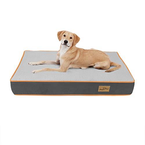 Bingopaw Colchoneta para Perros 85 x 57 x 10cm, Cama de Esponja para Perros, Colchón Perro Lavable con Forro Impermeable y Funda Desenfundable