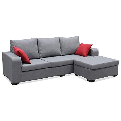 Muebles Baratos Sofa de Salon Moderno, Color Gris, 3 plazas, MONTADO, ref-54