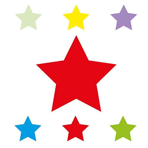 Anna Wand Bordüre selbstklebend Stars 4 Boys - Wandbordüre Kinderzimmer/Babyzimmer mit bunten Stern-Motiven - Wandtattoo Schlafzimmer Mädchen & Junge, Wanddeko Baby/Kinder