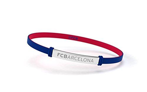 FCB Pulsera Fashion Azul Junior, Pulsera de silicona y acero inoxidable Fútbol Club Barcelona, Producto Oficial