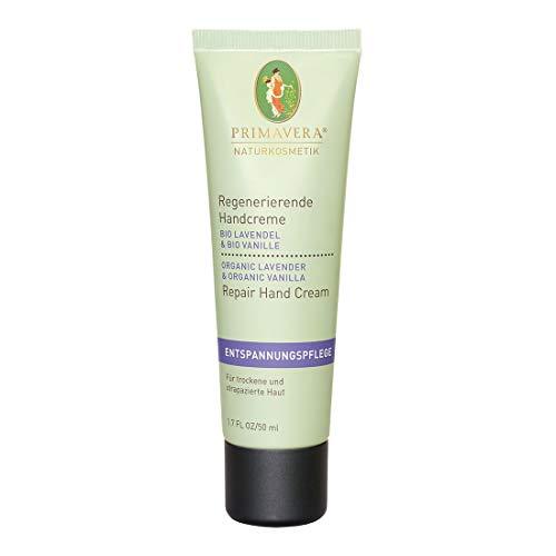 PRIMAVERA Regenerierende Handcreme Lavendel Vanille 50 ml - Naturkosmetik - pflegend, schützend für strapazierten Hände-vegan