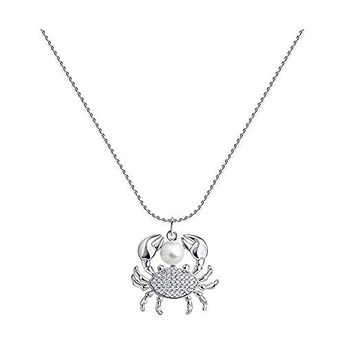 Mirkada - Collar de plata para mujer con perla y circonitas, color blanco, 45/50 cm