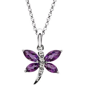 Set Accented Dragonfly Necklace