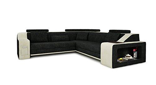 Bullhoff by Giovanni Capellini Wohnlandschaft Stoff Sofa Couch schwarz antrazit/weiß Creme Eckcouch Design Ecksofa mit LED-Licht Beleuchtung Berlin II