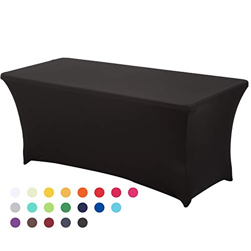 HAORUI Spandex Stretch Lycra Table Cover Cloth 6ft Foot Rectangular Fit Wedding Banquet Trestle Table (Black)