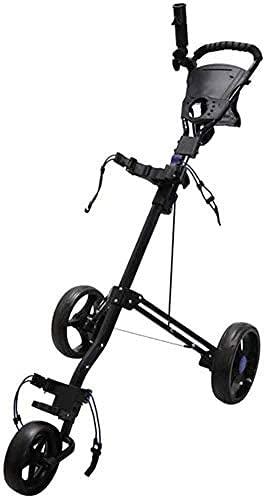 TUHFG Carrito de Golf Trolley Golf Ajustable Golf para Junior Golfistas de 3 Ruedas Golf Carrito Push con Freno Un Segundo para Abrir y Cerrar Golf Plegable (Color: Negro) (Color : Black)