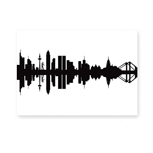 44spaces Postkarte mit schwarzer Frankfurt - Silhouette - City Skyline Postcards