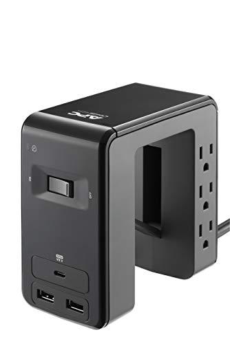 APC Desk Mount Power Station PE6U21, U-Shaped Surge Protector with USB Ports (3), Desk Clamp, 6 Outlet, 1080 Joules Black