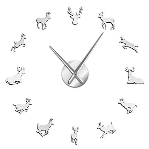 YQMJLF Reloj Pared DIY 3D Grande Cabeza Ciervo 3D DIY tamaño Gigante Reloj Pared Ajustable Moderno asta Ciervo acrílico Efecto Espejo Reloj Kit decoración decoración habitación Plata