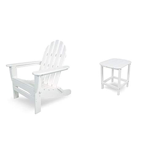 """POLYWOOD AD5030WH Classic Folding Adirondack Chair, 35.00"""" x 29"""" x 35.00"""", White & SBT18WH South Beach 18"""" Outdoor Side Table, White"""