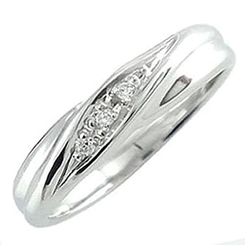 [アトラス]Atrus リング レディース 18金 ホワイトゴールドk18 ダイヤモンド 指輪 4月誕生石 ピンキーリング ストレート 17号