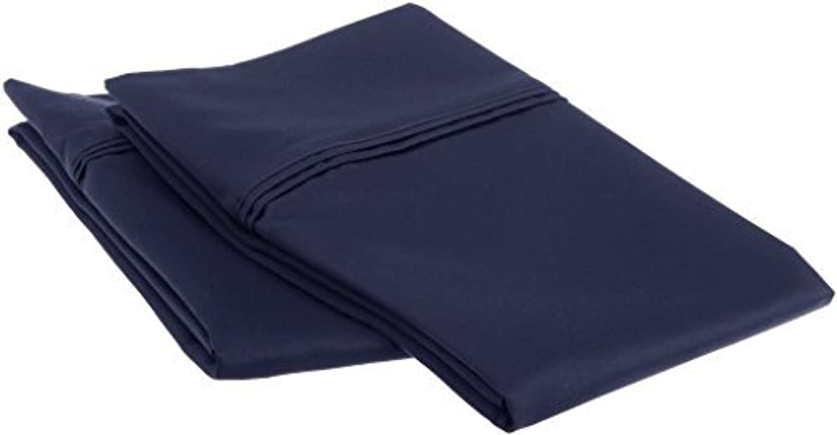 Fabricalicious Linen Body Pillowcases Set of 2 Ultra Soft 400TC Pure Cotton Body Pillow Cover - Navy Blue Solid
