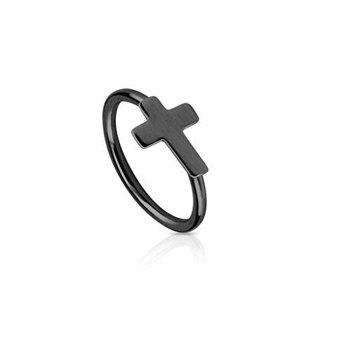Body Jewellery Shack 1 of Nose Hoop Lip, Ear Ring bar daith Tragus Helix with Cross in Black IP Over 316L Surgical Steel