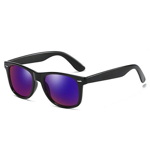 Rocf Rossini Vintage Gafas de sol polarizadas Hombres Mujeres Retro Tonos Protección UV400 (Negro/morado)
