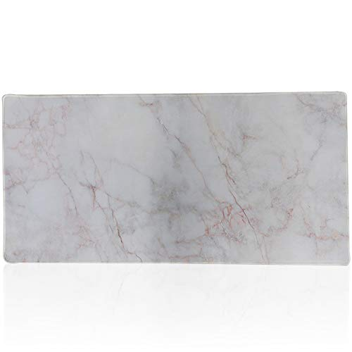 Cmhoo Desk Mouse Pad Extended XXL & Large Gaming Mat Protector Stickers 35.4 x 15.7 (90x40 Marble)