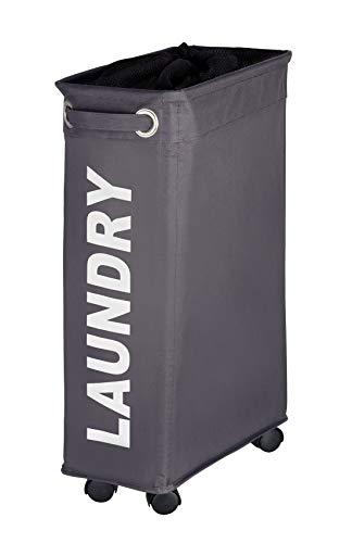 WENKO Wäschesammler Corno grau, Wäschekorb extra schmal für kleine Nischen, Wäschetonne mit Rollen, Wäschetruhe mit Griff, 100% Polyester, Fassungsvermögen 43 L, 18,5 x 60 x 40 cm