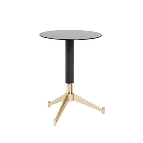 Mesa auxiliar redonda Sencilla mesa lateral nórdica de hierro forjado Mesa de centro Redonda de vidrio negro Soporte de metal de mesa Creativo Moderno Diseño de estilo industrial Mesas de café pequeña