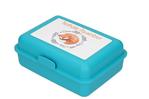Personalisierte Brotdose für Kinder mit Name | BPA-Freie Lunchbox Kindergarten Butterbrotdose | 17x13x7cm Persönliche Geschenkidee für Jungs & Mädchen Einschulungsgeschenk (Türkis – Fuchs – Motiv 3)