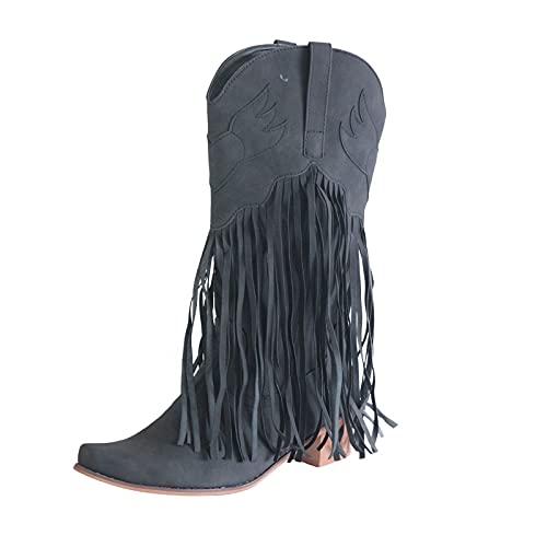 Damen Cowboy Stiefel Frauen Coole und gut aussehende, atmungsaktive Schuhe mit niedrigem Absatz Leder Quaste Square Toe Western Quasten Western-Cowboystiefel