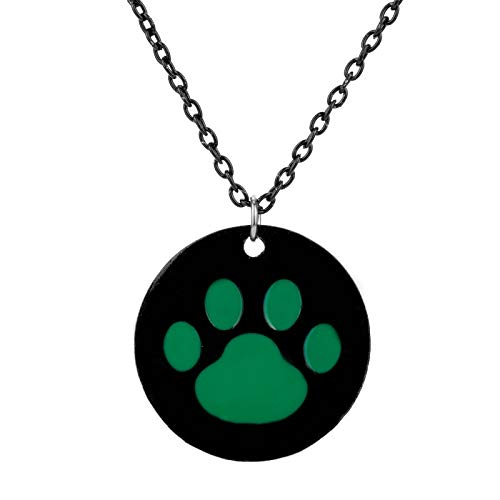 DYKJ Cartoon Ladybug Black Cat Noir Collar Colgante Redondo Cute Green Cat Paw Print Llaveros Regalo para Mujeres Hombres