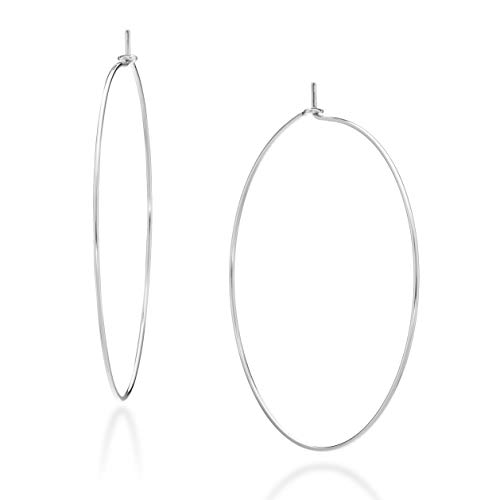 Miabella 925 Sterling Silver High Polished Super Thin Threader Wire Hoop Earrings for Women Girls 50mm, 60mm, 70mm Lightweight Earrings Made in Italy (50mm (2 Inch))