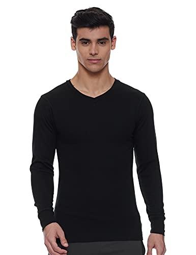 Macroman M-Series Men's M1003 Regular Apparel Pattern Cotton Rich Thermal Top (M1003_Black_Large)