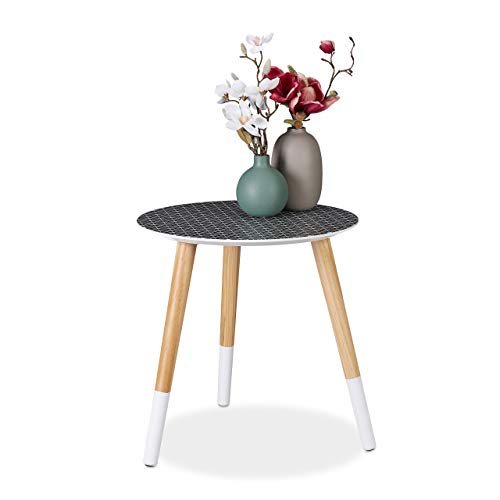 Relaxdays Round Side with Decorative Pattern, Low Wooden Tripod Table, HxD 40.5x40cm, Black/White/Natural Mesa Auxiliar Redonda, DM-Madera, Negro-Blanco-Marrón, 40,5 x 40 cm